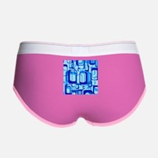 retro pattern 1971 blue Women's Boy Brief