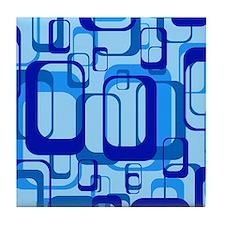 retro pattern 1971 blue Tile Coaster
