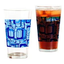 retro pattern 1971 blue Drinking Glass