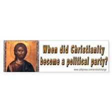 Christian politics (bumper sticker)