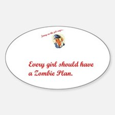 Jenny on the job has a zombie plan Oval Decal