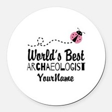 World's Best Archaeologist Round Car Magnet