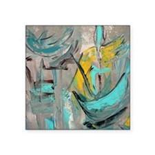 "Modern Art in turquoise Square Sticker 3"" x 3"""