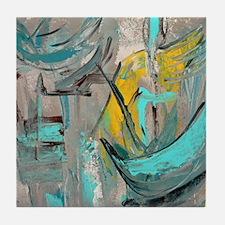 Modern Art in turquoise Tile Coaster