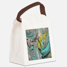 Modern Art in turquoise Canvas Lunch Bag