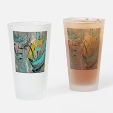 Modern Art in turquoise Drinking Glass