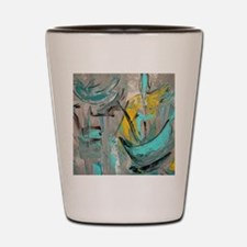 Modern Art in turquoise Shot Glass