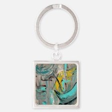 Modern Art in turquoise Square Keychain