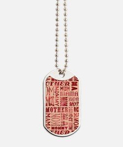 Mothers Day Typography Pattern Dog Tags