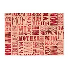 Mothers Day Typography Pattern 5'x7'Area Rug