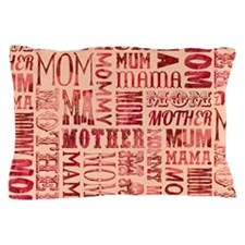 Mothers Day Typography Pattern Pillow Case