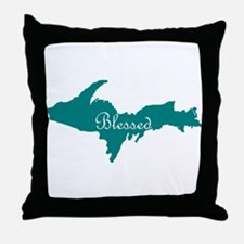 Script Blessed On Teal U.P. Throw Pillow
