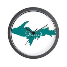Script Blessed On Teal U.P. Wall Clock
