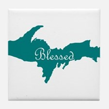 Script Blessed On Teal U.P. Tile Coaster