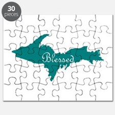Script Blessed On Teal U.P. Puzzle
