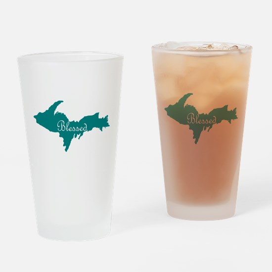 Script Blessed On Teal U.P. Drinking Glass