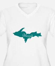 Script Blessed On Teal U.P. Plus Size T-Shirt