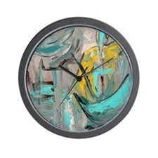 Modern Art in turquoise Wall Clock