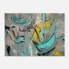 Modern Art in turquoise 5'x7'Area Rug