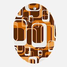 retro pattern 1971 orange Ornament (Oval)
