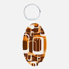 retro pattern 1971 orange Keychains