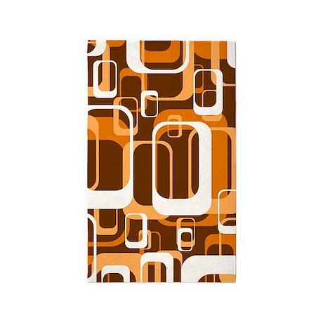 Retro Pattern 1971 Orange 3u0027x5u0027 Area Rug