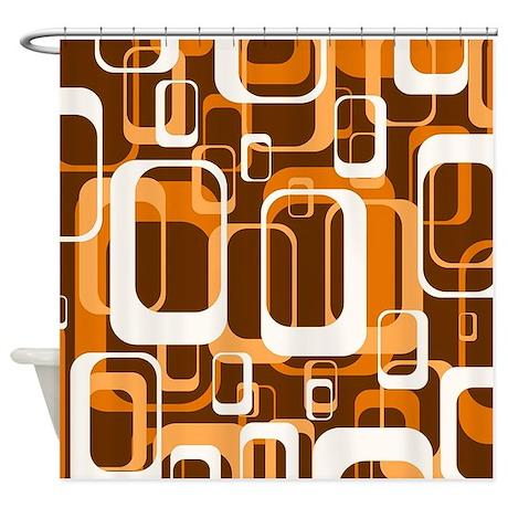 Retro pattern 1971 orange shower curtain by mehrfarbeimleben for 70 s bathroom decor