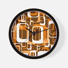 retro pattern 1971 orange Wall Clock