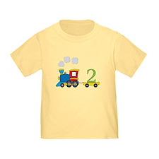 2 Year Old Train Birthday T-Shirt