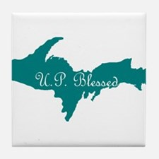 U.P. Blessed on Teal U.P. Tile Coaster