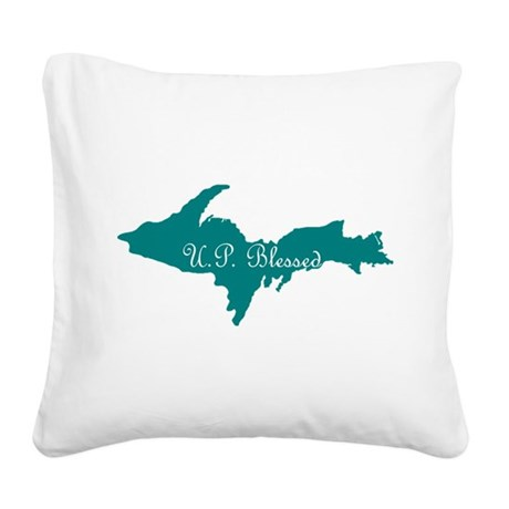 U.P. Blessed on Teal U.P. Square Canvas Pillow