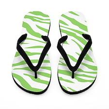 Green Zebra Print Flip Flops