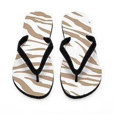 Cream Zebra Print Flip Flops