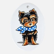 Baby Blue Yorkie Ornament (Oval)