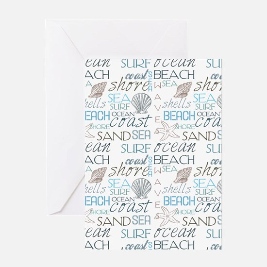 Beach Typography Greeting Cards