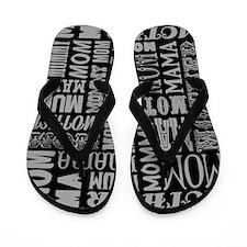Mother Typography Pattern Flip Flops