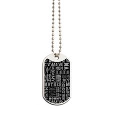 Mother Typography Pattern Dog Tags