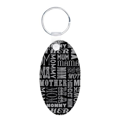 Mother Typography Pattern Keychains