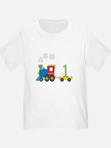 1 Year Old Train Birthday T-Shirt