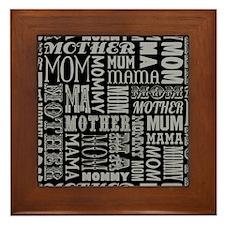 Mother Typography Pattern Framed Tile