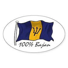 100% Bajan Oval Bumper Stickers