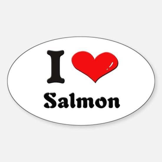 I love salmon Oval Decal