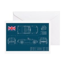 Mgb Blueprint Greeting Cards