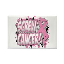 Screw Breast Cancer Rectangle Magnet