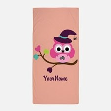 Cute Little Owl Beach Towel