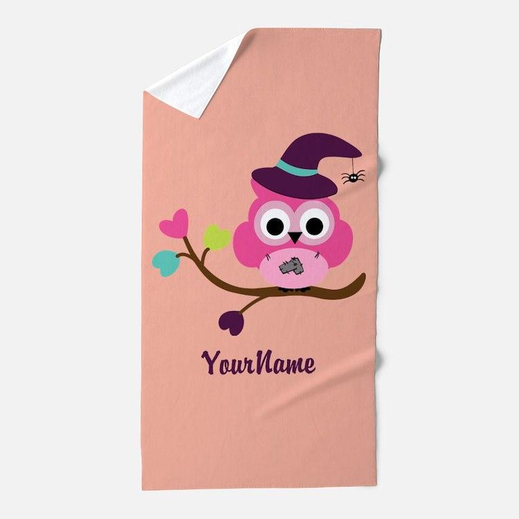 Cute Little Owl Beach Towel
