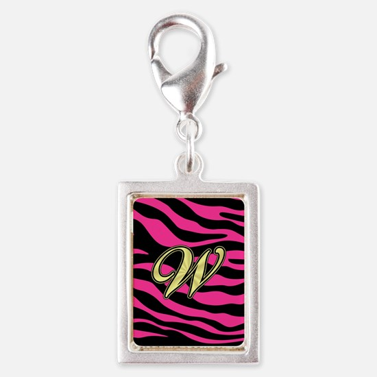 HOT PINK ZEBRA GOLD W Charms