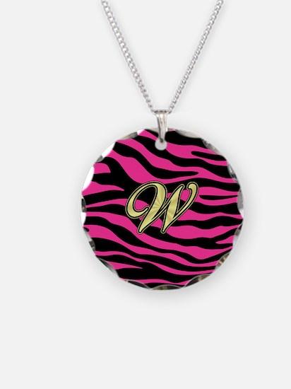 HOT PINK ZEBRA GOLD W Necklace