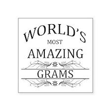 "World's Most Amazing Grams Square Sticker 3"" x 3"""