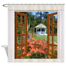 Window View of Garden Gazebo Shower Curtain
